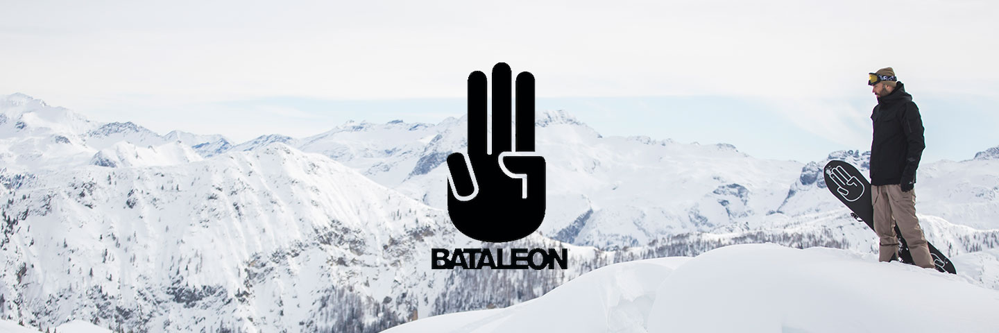 Bataleon logo with snowboarder in background