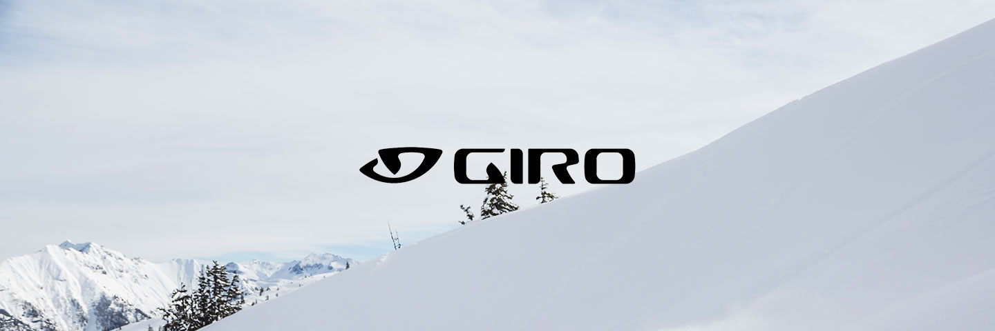 Giro logo with snow covered slope behind