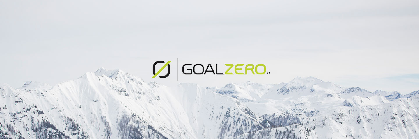 Goal Zero logo with snow capped mountain scenery