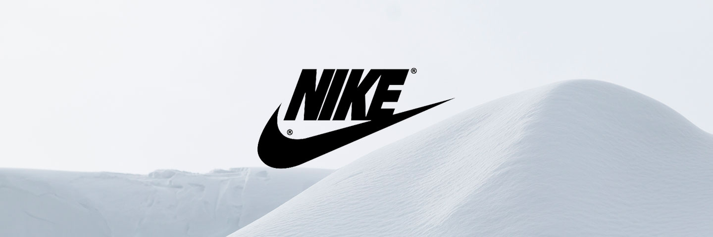 Nike logo with snowy background