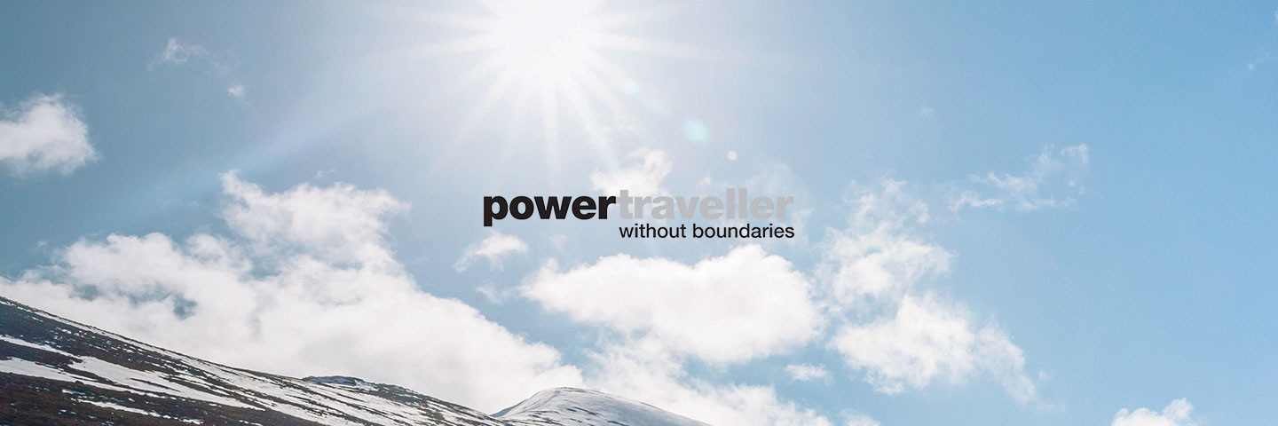 Powertraveller logo with sunny sky in background
