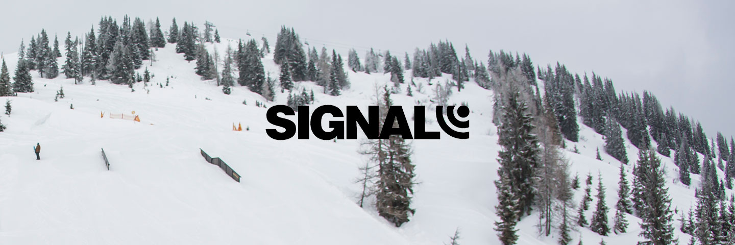 Signal logo with snowy forest in background