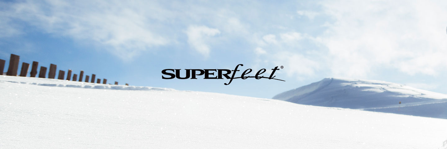 Superfeet logo with snow covered background