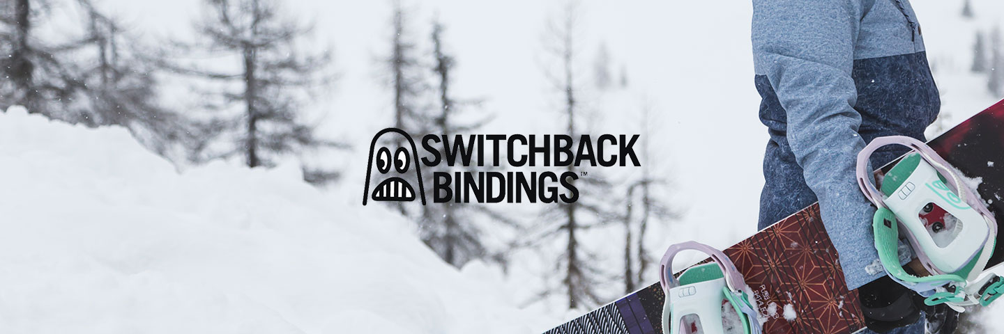 Switchback Bindings logo with snowboarder and snowy terrain
