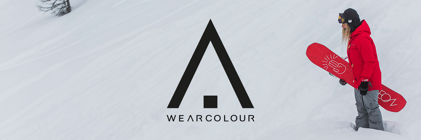 Wearcolour logo snowy hill with snowboarder in red jacket holding red board