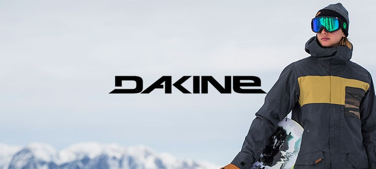 Dakine logo with snowboarder to one side