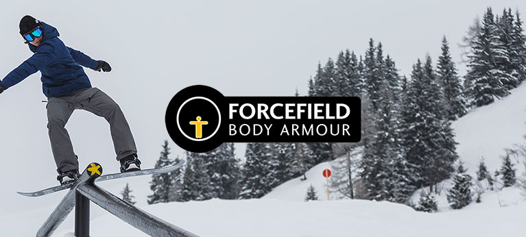 Forcefield logo with trees and park rat in the background