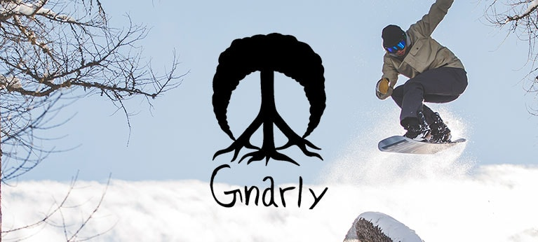 Gnarly logo with snowboarder