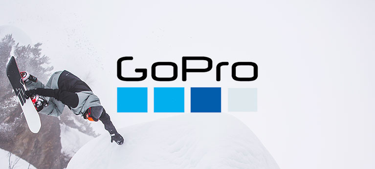GoPro logo with snowboarder in background