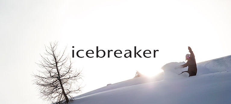 Icebreaker logo with snowboarder in background
