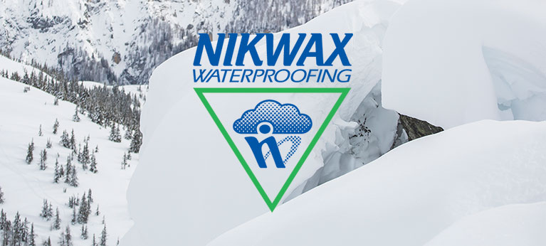 Nikwax logo with snowy background