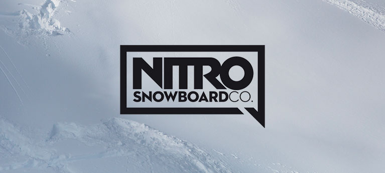 Nitro logo with powder snow background