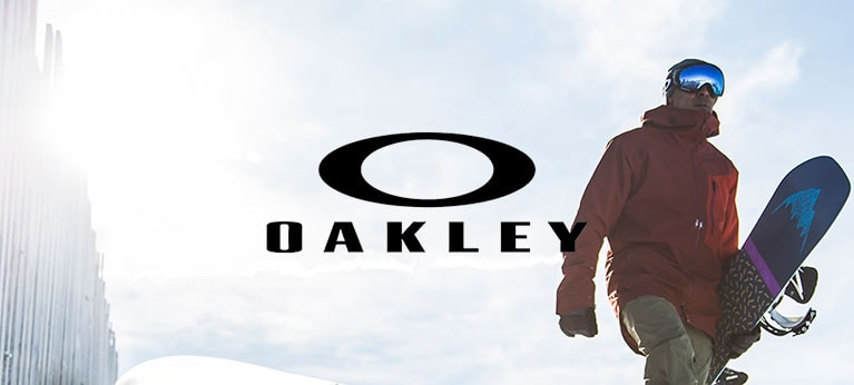 Oakley logo with snowboarder wearing oakley goggles