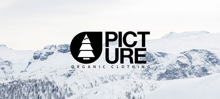 Picture logo with snowy mountain background