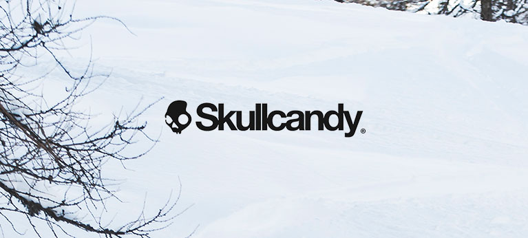 Skullcandy logo with snowy background