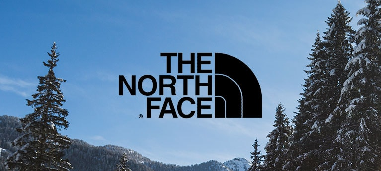 The North Face logo with blue skies and tree in background