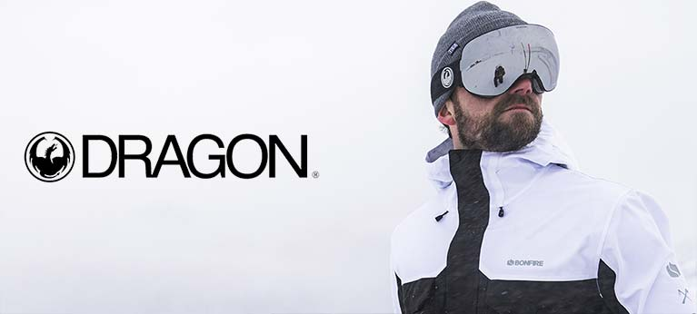 Dragon logo with snowboarder wearing googles to the side