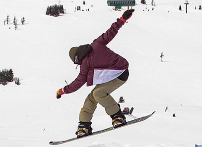 a snowboard performing a shifty